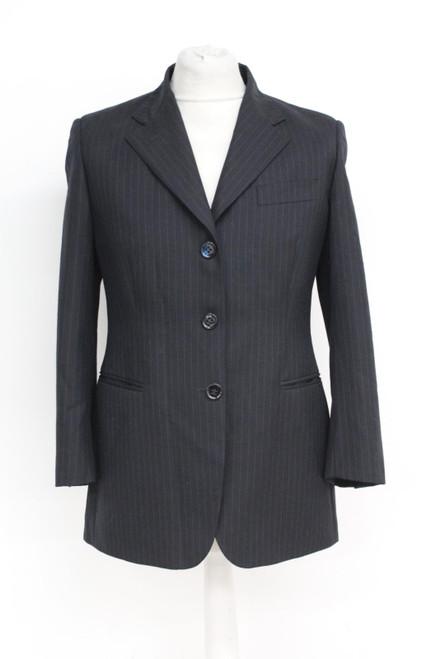 AQUASCUTUM Men's Black Pinstripe Single Breasted Suit Jacket Size UK36 EU46