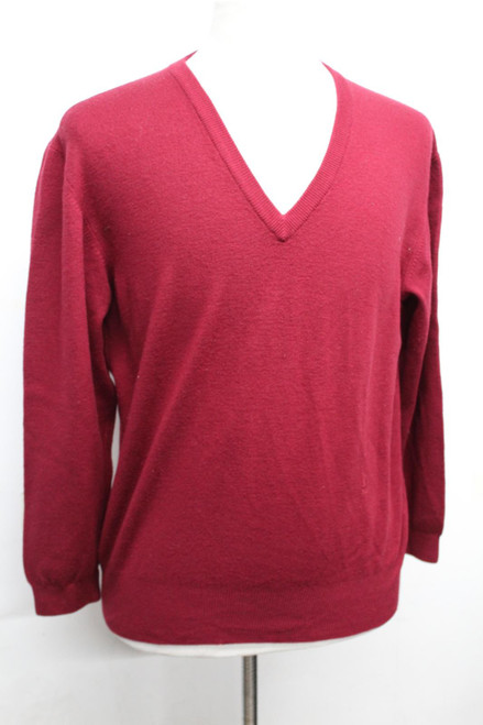 YVES SAINT LAURENT Ladies Red Wool V Neck Long Sleeve Knitted Sweater Jumper L