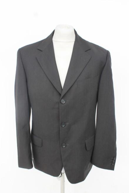 ERMENEGILDO ZEGNA Men's Black Single Breasted Wide Lapel Suit Jacket UK40 IT50