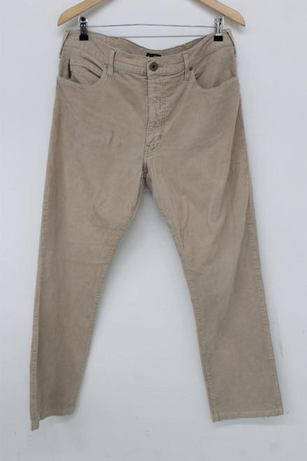 ARMANI Men's Desert Sand Beige Corduroy Comfort Fit Trousers Size 38 W34 L30