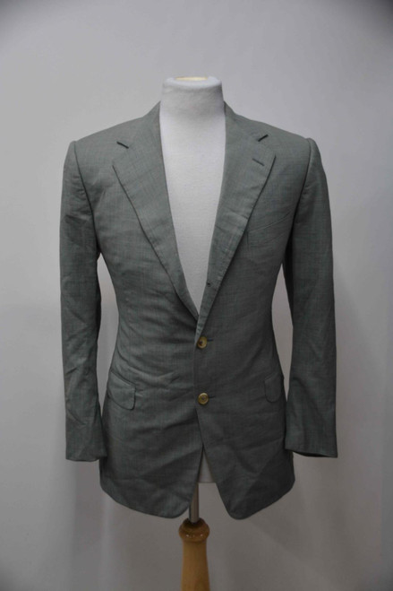 ERMENEGILDO ZEGNA Men's Green 100% Wool Single Breasted Suit Jacket UK38