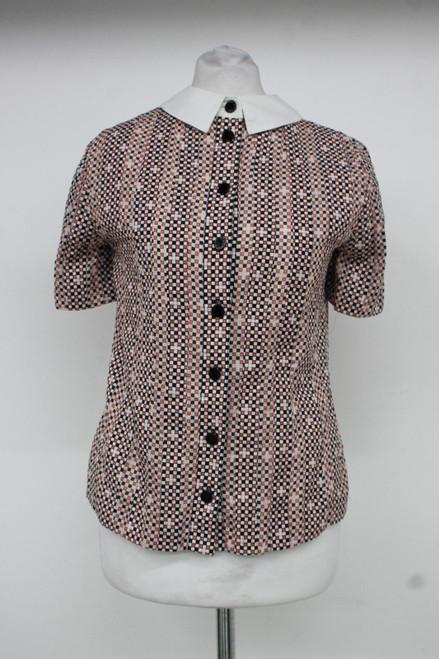 TORY BURCH Ladies Pink Geometric Print Short Sleeve Collared Shirt US0 UK4