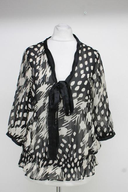 TED BAKER Ladies Black & White Silk 3/4 Sleeve Plunging V Neck Blouse UK10 TB2
