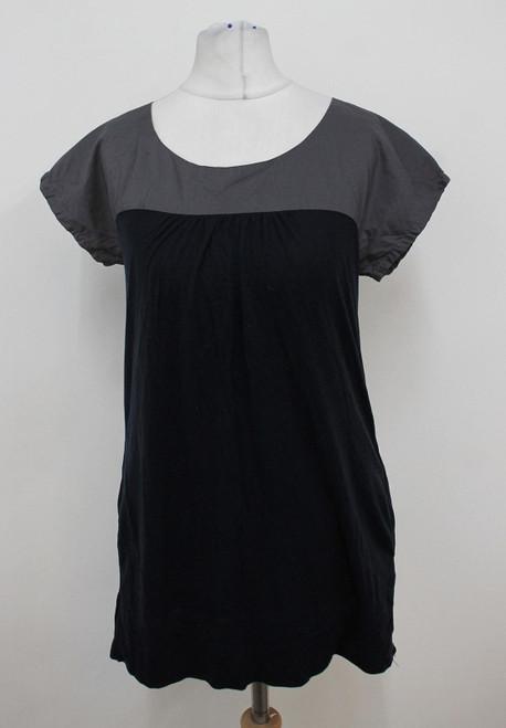 CALVIN KLEIN Ladies Dark Grey Black Cotton Panel Short Sleeved Top Size S
