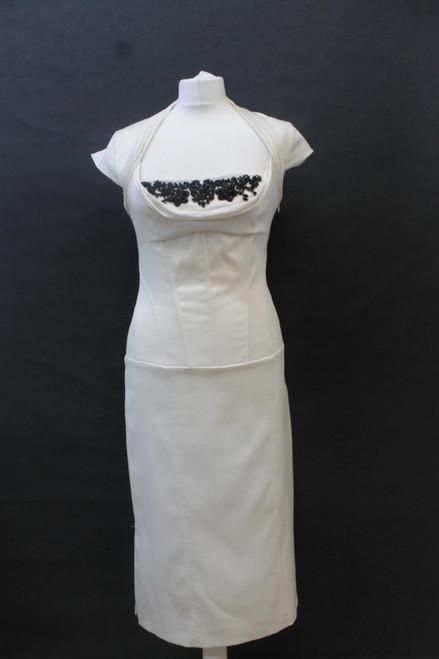 KAREN MILLEN Ladies Beige Bead Embellished Neck Cap Sleeve Shift Dress UK12