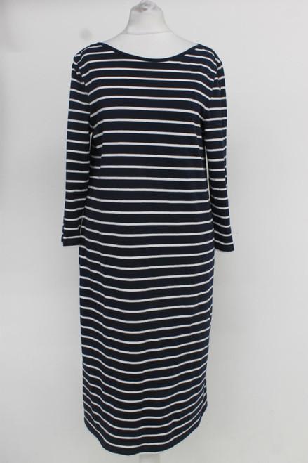 JAEGER Ladies Blue White Striped Cotton Blend Boat Neck Sweater Dress S
