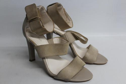 CALVIN KLEIN Ladies Beige Suede Ankle Strap High Slim Heel Sandal Size EU38 UK5