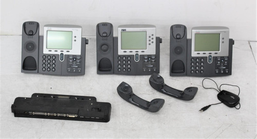 3x CISCO 7942 7961 Corded IP Business Phones & Fujitsu Docking Station FAULTY