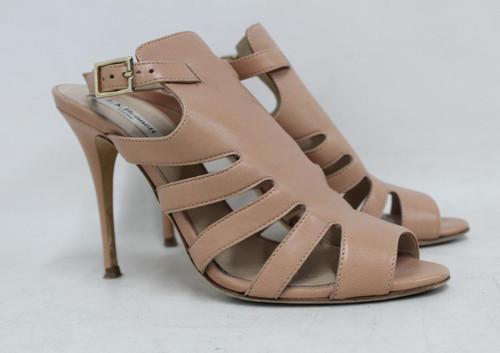 L.K. BENNETT Ladies Nude Beige Leather High Heel Strappy Sandals Shoes UK5 EU38