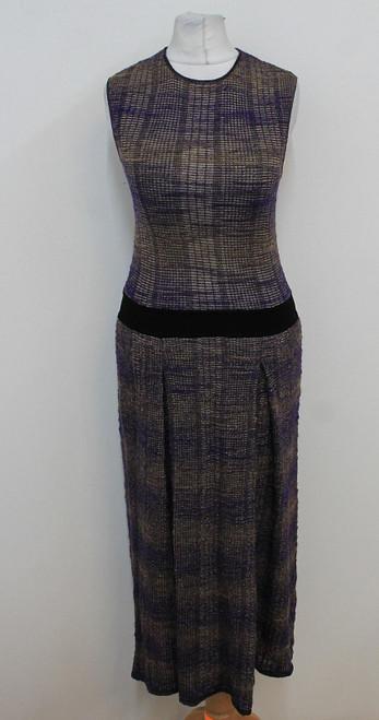 TORY BURCH Ladies Dark Purple Multicolour Textured Stretchy Midi Dress XS
