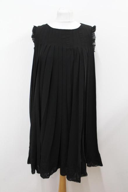 DIANE VON FURSTENBERG Ladies Black Sleeveless Lace Pleated Lolita Dress UK6 US2