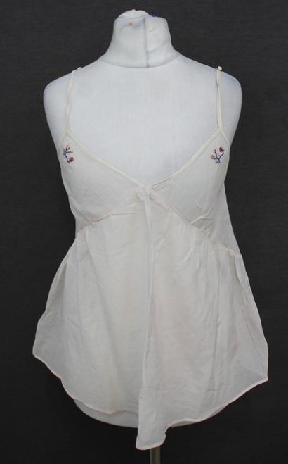 STELLA MCCARTNEY Ladies Ivory Cream Floral Embroidery V-Neckline Top Size M