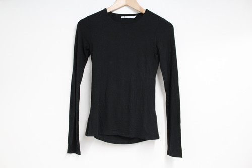 ALEXANDER WANG Ladies Black Long Sleeve Crew Neck Stretch Fit Top Size XS