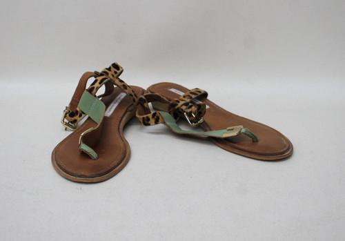 DIANE VON FURSTENBERG Ladies Brown Leopard Print Leather Sandal Shoes US7 UK4.5