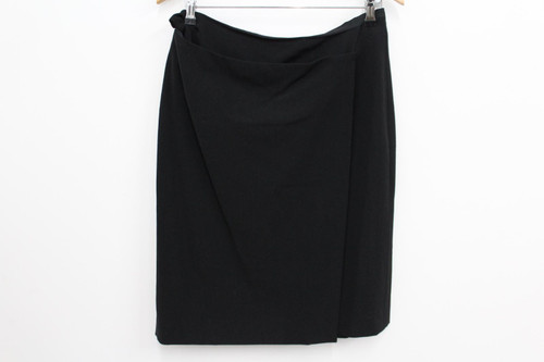 JAEGER Ladies Black Wool Side Zip Mini Short Skirt For Work Office Size UK14