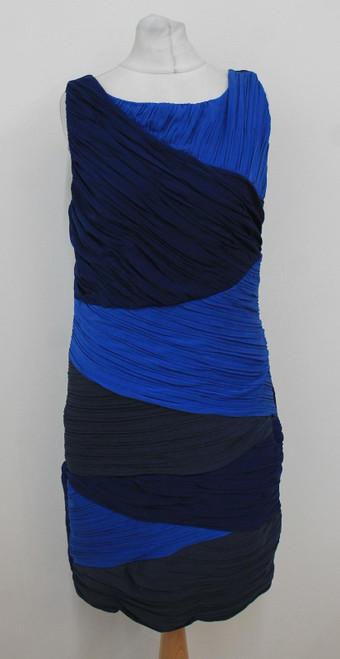 BCBG MAXAZRIA Ladies Navy Indigo Royal Blue Colour Block Shift Dress Size L