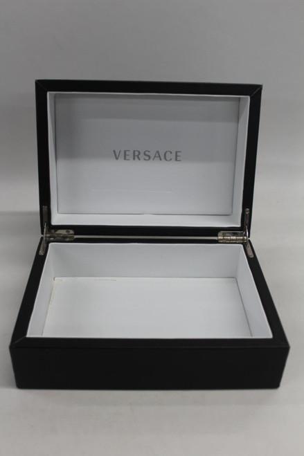 VERSACE Hard Black Wrist Watch Display Box White Interior 21cm x 15cm x 10cm