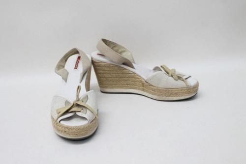 f06bc5c2882 PRADA Ladies White Beige Platform Wedges Espadrille Sandals Size ...