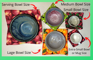 Our Microwave Bowl Cozies made with food-print fabric. These bright bowl cozies allow heating of food that is put into a bowl sitting in the cozy. Remove the food and bowl by lifting it out while holding onto the cozy.