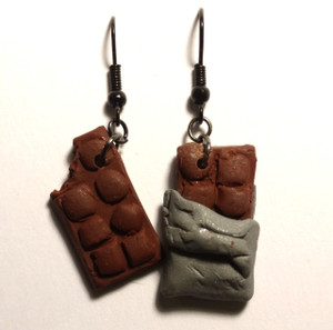 Chocolate Bar Earrings with French Loop Hooks
