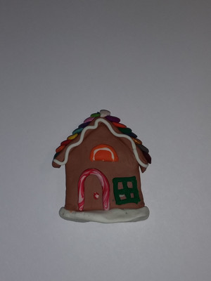 GrubDudz Polymer Clay Gingerbread House Refrigerator Magnet