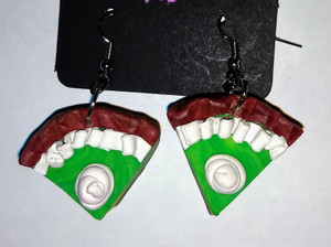 Key Lime Pie Earrings  are handmade with polymer clay. Each earring has whipped cream on top.