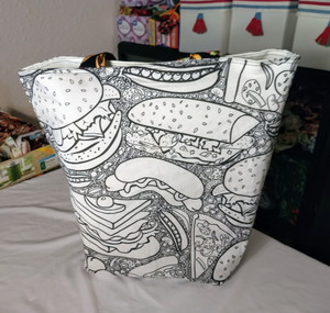 Fast Food Tote to Color - Side 1. This Tote Bag can be colored with fabric markers. Washing the bag and allowing it to dry makes the ink from the markers become permanent.