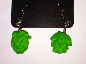 Beer Hops Earrings with bright green Hops flowers or seed cones that are sculpted out of polymer clay and attached to the earring metal pieces.