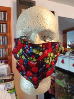 Face mask with berry print fabric