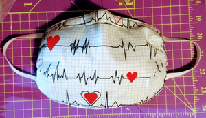 Face Mask with Heart Rhythm Background on White Background