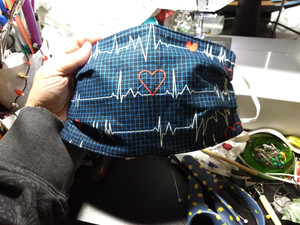 Heart Rhythm Face Mask - Blue Background