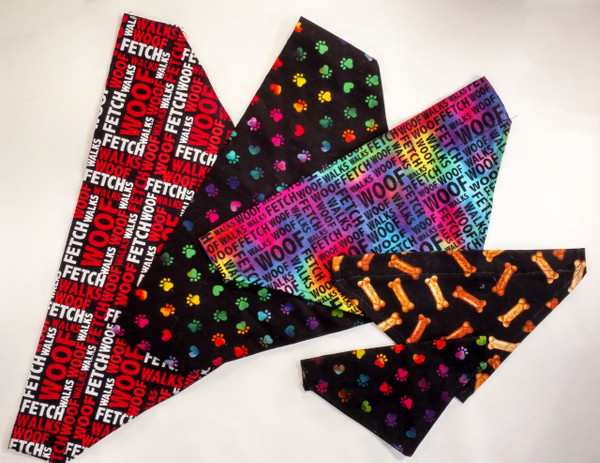 Display of a few of our dog bandana sizes.