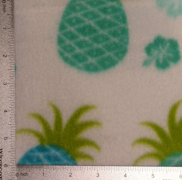 Blue & Green Pineapples on White Background