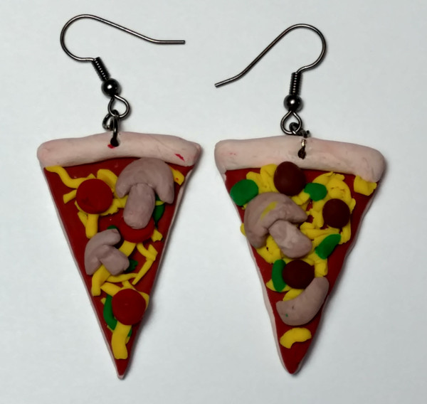 GrubDudz Pizza Earrings. Made from Polymer Clay.