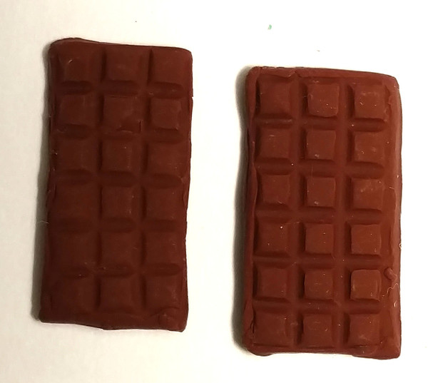 Chocolate Bar Earrings with small squares.