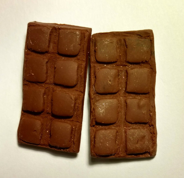 Chocolate Bar Earrings with large squares.