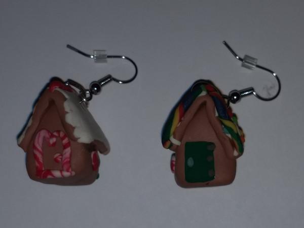 GrubDudz Polymer Clay Gingerbread House Earrings