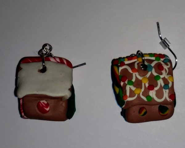 GrubDudz Polymer Clay Gingerbread House Earrings