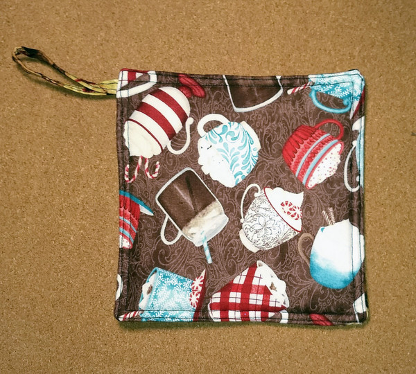Cocoa and Peppermint Print Potholder