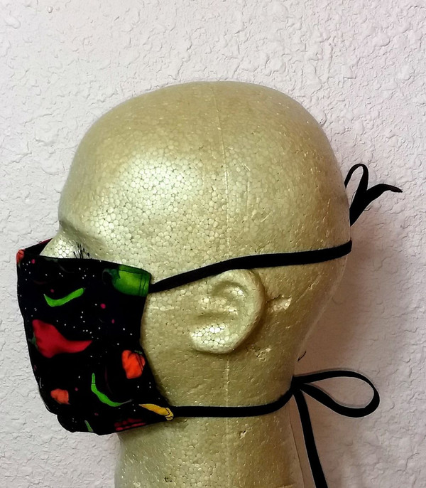Side view of the Peppers in Space Mask