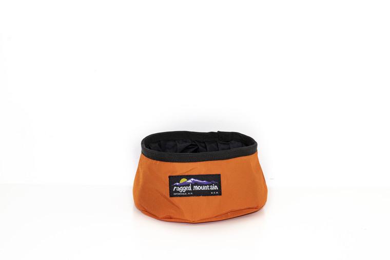 Orange foldable dog bowl Made in USA