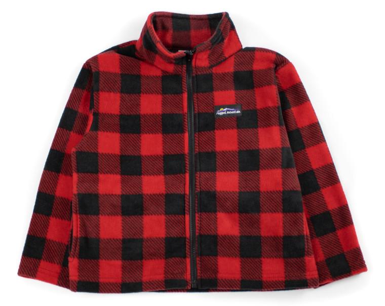 Red Plaid Kids Fleece Jacket