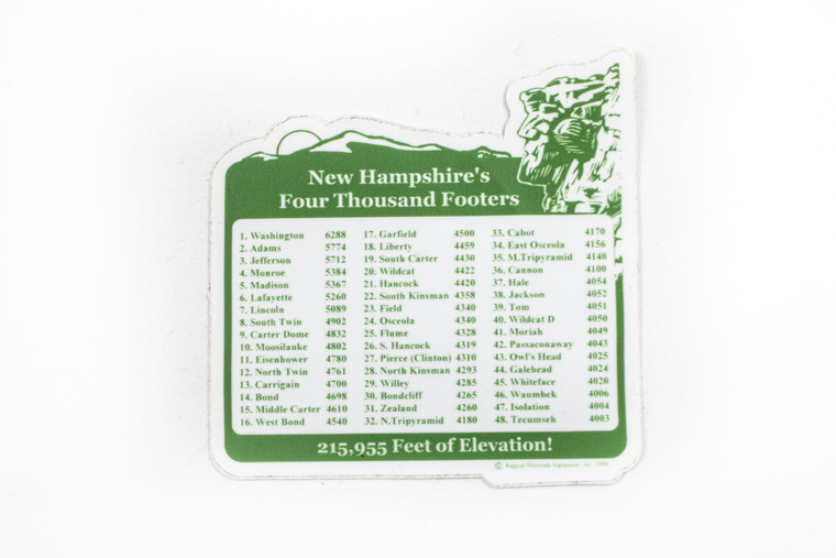 New Hampshire 4000 footer collectors sticker in green