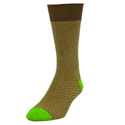 Men's Chocolate Dylan Herringbone Crew Socks