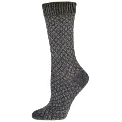 Women's Charcoal Lilly Folk Fairisle Crew Socks