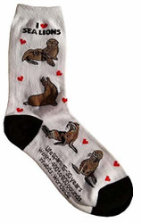 Women's I Love Sea Lions Crew Socks