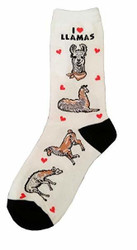 Women's I Love Llamas Crew Socks