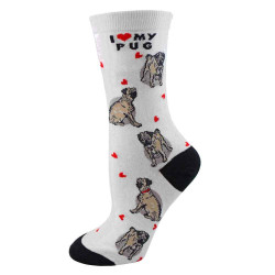 Women's I Love My Pug Crew Socks