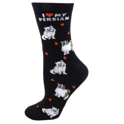 Women's I Love My Persian Cat Black Crew Socks