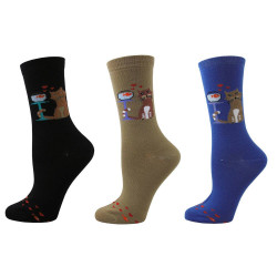 Women's Toast Turquoise Cat Loves Fish Socks